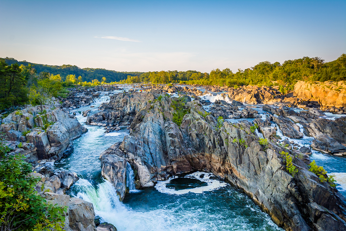 See the waterfalls of the Potomac River at Great Falls in the C&O Canal Park.